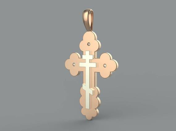 Two-Tone Orthodox Cross in Solid Rose Gold & White Gold, Byzantine Cross, Russian Orthodox Cross, Baptism Cross, Eastern Orthodox Cross