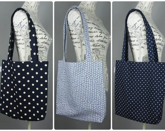 A4 book tote shopping bag - made in a cotton fabric in various spot designs