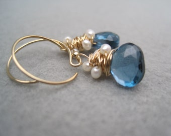London Blue Topaz Earrings - Tiny Topaz Drops - Blue Topaz - Pearl Earrings - Deep Teal Blue - Spun Gold - Whirlwind Earrings