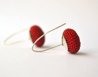 dangle earrings red silver hooks