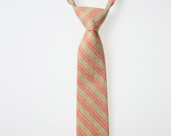 Toddler Neck Tie - Cream with Green and Red Stripes
