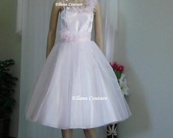 SAMPLE SALE. Josette - Vintage Inspired Satin and Organza Tea Length Wedding Dress.