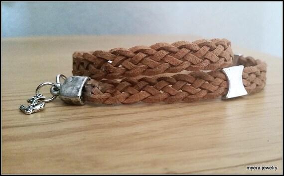 Brown Leather Bracelet, Men Braided Bracelet, Leather Braided Bracelet, Mens Wrap Bracelet, Leather Men Bracelet, Men Statement Jewelry