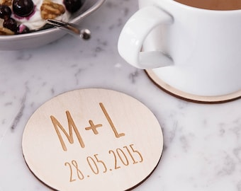 Personalised Initials Coasters - Wooden Coaster - Drinks Coasters - Gift for Couples - Engagement Gift - Housewarming Gift - Birthday Gift