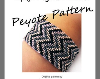 Espiga Peyote Pattern Bracelet - For Personal Use Only PDF Tutorial , chevron bracelet , friendship beaded cuff tutorial, miyuki delica