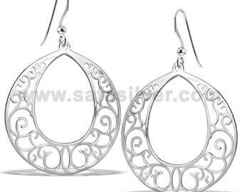 Silver Laser Cut Earrings, Round Filigrees, Round Laser Cut Earrings, Silver Filigree Earrings, Delicate Earrings,Italian Style Earrings