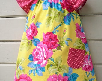 Sunny Yellow Peasant Dress for Girls size 1T through 3T