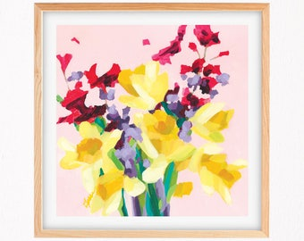 Daffodils acrylic painting reproduction print fine art giclee in purples and yellows