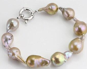 11-13mm Large baroque pearl bracelet,natural metallic color flameball pearl bracelet,big fireball nucleated pearl bracelet,christmas gift