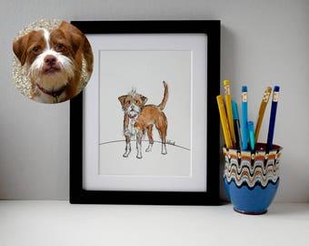 "Custom Pet Illustration, Custom Pet Portrait. Quirky Dog Illustration, Pet Art, 10"" x 12"""