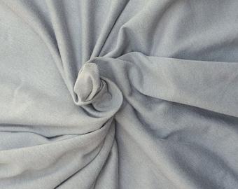"Light Gray Cotton Fabric Jersey Knit by the Yard 64"" W 6/16"