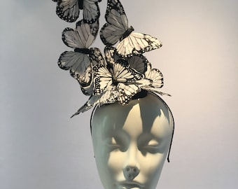 Black and White Fascinators -Monarch Butterfly fascinator- High Tea- Butterfly Headdress- Butterfly hat- Derby- Kentucky Derby Hat- Wedding
