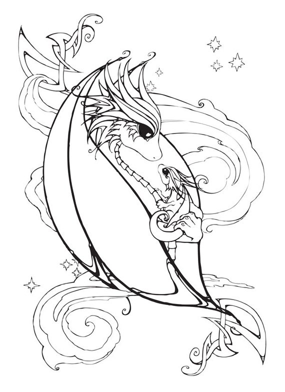 mother and baby dragon coloring page - Baby Dragon Coloring Pages
