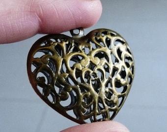 Heart Charm, Heart Pendant, Filigree Pendant, Large Hollow Heart Charm, Antiqued Bronze Heart Pendant, Necklace Pendant