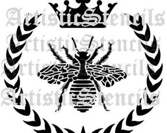 STENCIL French Queen Bee Wreath Crown - Various sizes