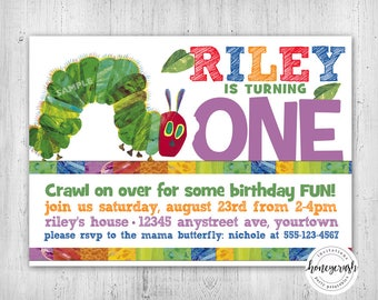 Very Hungry Caterpillar Birthday Invitation - Printable Digital File