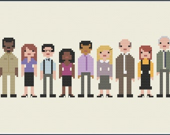 8-Bit Wonder - The Office US Everyone Else Characters PDF Cross-Stitch Pattern