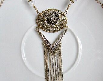 Fringe Necklace, Gold Fringe Necklace, Gold Fringe Pendant Necklace, Victorian Style Necklace, Fringe Pendant, Long Fringe Necklace, Fringe