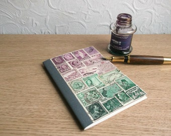 EcoFriendly Journal, Free Diary, Undated Notebook | Bohemian Vintage Postage Stamp Art Gift, Heather Lavender Green Eco Friendly Office Gift