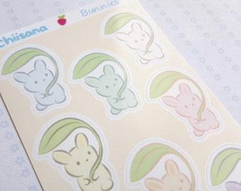 Glossy BUNNY STICKERS - Kisscut Sticker Sheet of Cute Pastel Bunnies
