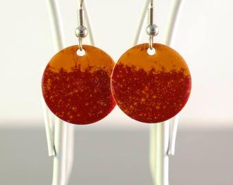 red & orange small circle enamel earrings