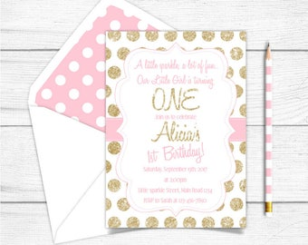 Any Age Printable Pink and Gold Girls Birthday Invitation, Pink Gold Sparkle Effect Birthday Invitation, 1st 2nd 3rd Birthday Invitation