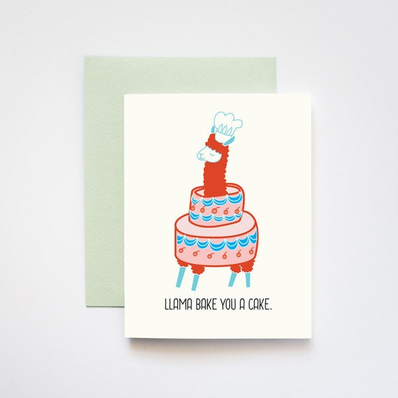 Llama Bake You a Cake Birthday Celebratory Greeting Card