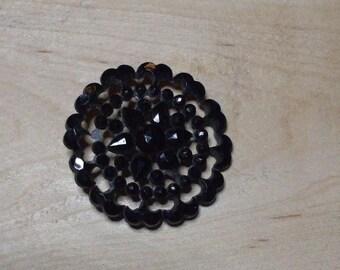 Antique Black Glass Button - lace