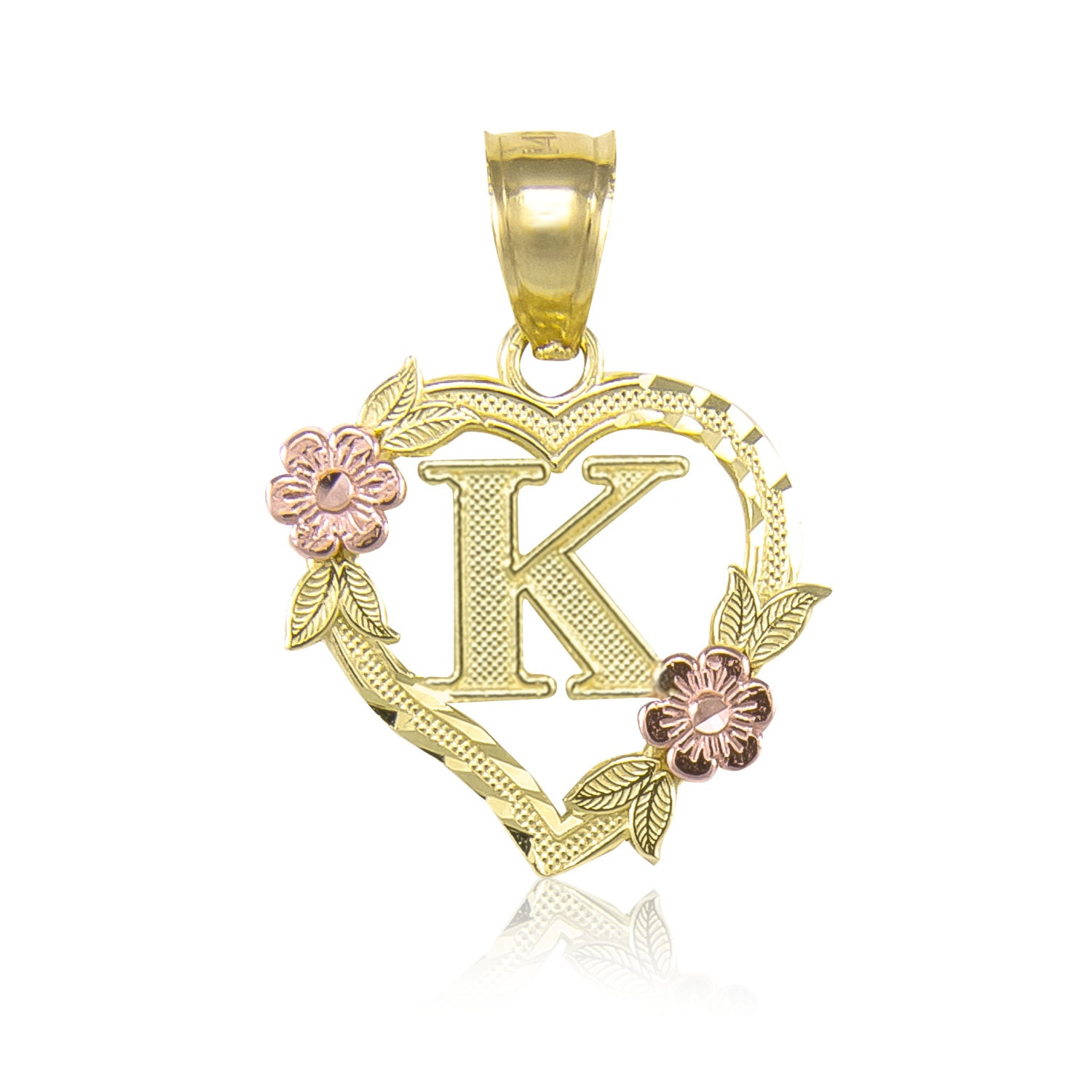10k solid yellow rose gold heart initial letter pendant a z any 10k solid yellow rose gold heart initial letter pendant a z any alphabet flower necklace charm mozeypictures Image collections