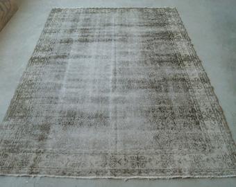 7'x10' Large Area Rug, Distressed Oushak Rug, Vintage Mid-Century Rug