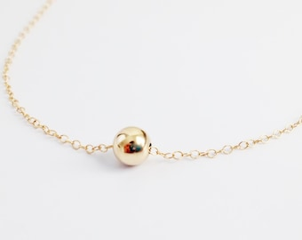 Gold Ball Necklace - Minimalist - Simple Everyday - Layering - Gold Bead