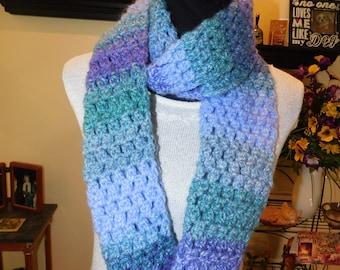 Handmade, Chunky Weight, Purples and Greens Infinity Scarf