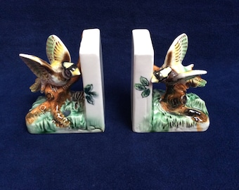 Vintage bookends. Pheasant bookends.