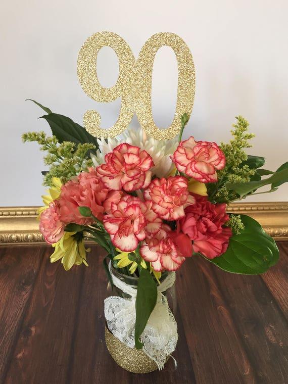 90 Centerpiece Picks Glitter Ninety On A Stick 90th Birthday