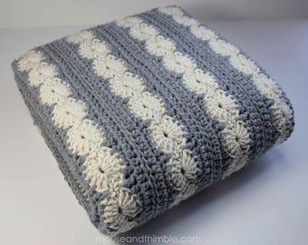 Crochet Blanket PATTERN / Oyster Bay Afghan / (5 sizes) / Medium Weight / PDF 3652