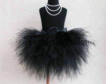 "Black Beauty Tutu - Custom Sewn Tutu - 3 Tiered 15"" Pixie Tutu - A Tiara's Boutique Original - Up to size 5T"