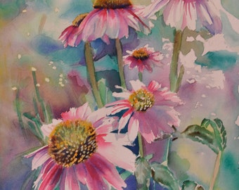 Watercolor Painting , Pretty in Pink , Original watercolor , Tybistudio , Watercolor floral , home decor , Wall art , Fine Art , Daisies