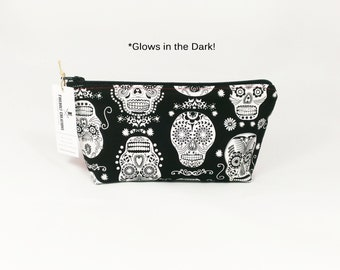 Glow in the Dark Sugar Skull Toiletry Bag Cosmetic Pouch halloween makeup bag dia de los muertos day of the dead goth gift quick shipping