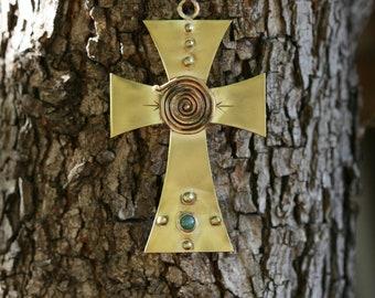Handmade Cross, Solid Brass Cross, Wall Hanging Cross, Metal Cross, Home Decor