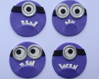 12 edible DESPICABLE PURPLE MINIONS cake cupcake wedding topper decoration party wedding birthday engagement cartoon character dave