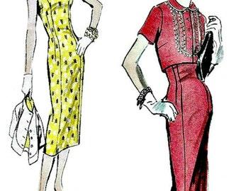 50s Sheath & Bolero Pattern  VOGUE 8847 1956 Vintage Sewing Pattern  Sleeveless Sheath Dress and Bolero  UNCUT, Factory Folded Bust 36