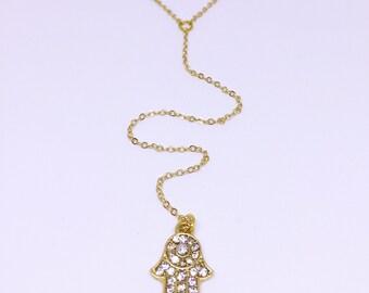 Gold Hamsa Hand Lariat Necklace
