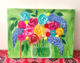 abstract flowers, colourful flowers, colourful painting, original painting, colourful art
