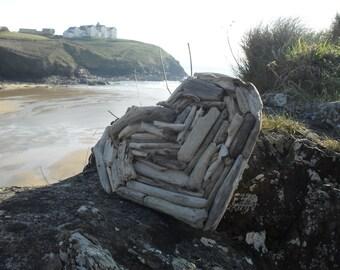 Handmade Cornish Driftwood Heart Shabby Chic, Nautical, Unique Gift - Made to Order