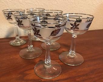6 Vintage Libbey Frosted Silver Leaf Wine, Champagne, Dessert  Glasses Vintage Barware Stemmed Glassware