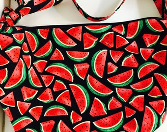 Handmade quilted zippered watermelon print hobo