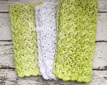 Handmade Kitchen Dish Cloths Honeydew Green White Eco Friendly Wash Cloth Crochet Cotton Dishcloths Set of 3