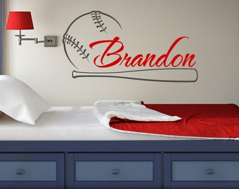 Baseball Name Wall Decal Boy  Baseball Personalized Decal  Boy Name Wall  Decals  Sports