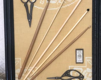 Vintage Knitting Needles and Crochet Hooks with Repro Scissors