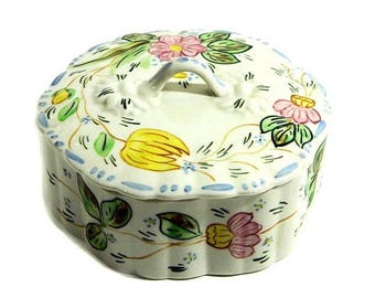 Blue Ridge Southern Potteries Hand Painted Rose Marie Lidded Candy Box